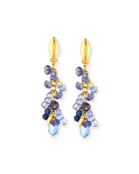 Blue Rain Flurries Cluster Drop Earrings