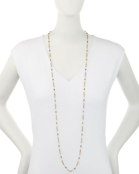Delicate Long Beaded Sapphire Necklace, 48""