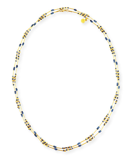 """Delicate Long Beaded Sapphire Necklace, 48"""""""