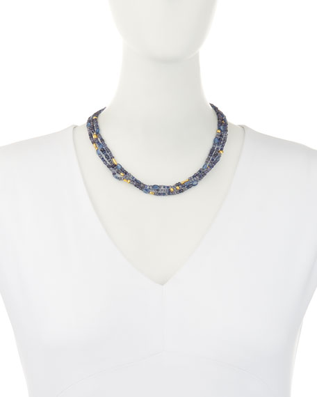 Blue Rain Flurries Three-Strand Necklace
