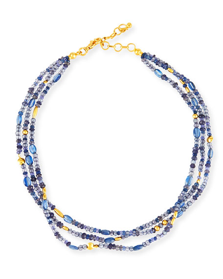 Gurhan Blue Rain Flurries Three-Strand Necklace