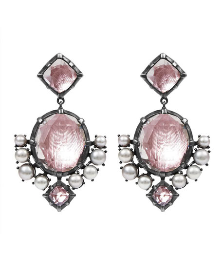 Bella Compass Sterling Silver Earrings with Pearls, Ballet Pink