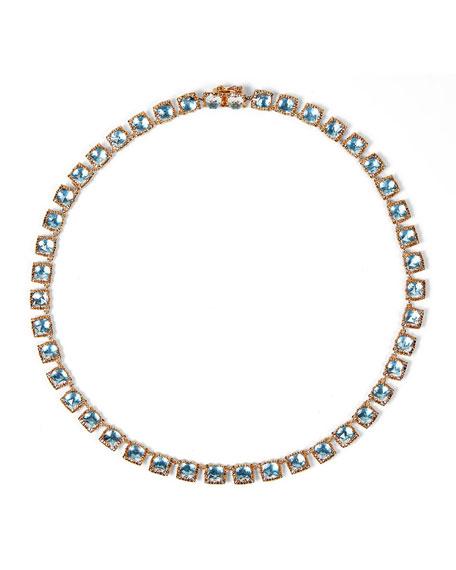 Bella Mini 18K Rose Gold-Washed Button Rivière Necklace, Sky Blue