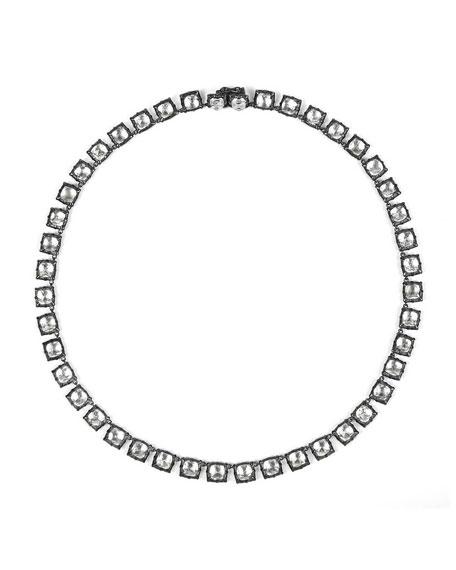 Bella Mini Black Rhodium-Washed Button Rivière Necklace, White