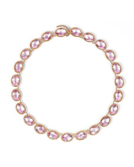 Larkspur & Hawk Lily 18K Rose Gold-Washed Button Rivière Necklace, ...