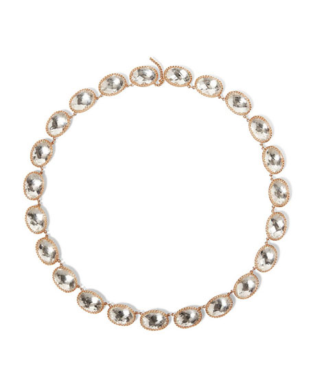 Lily 18K Rose Gold-Washed Button Rivière Necklace, White