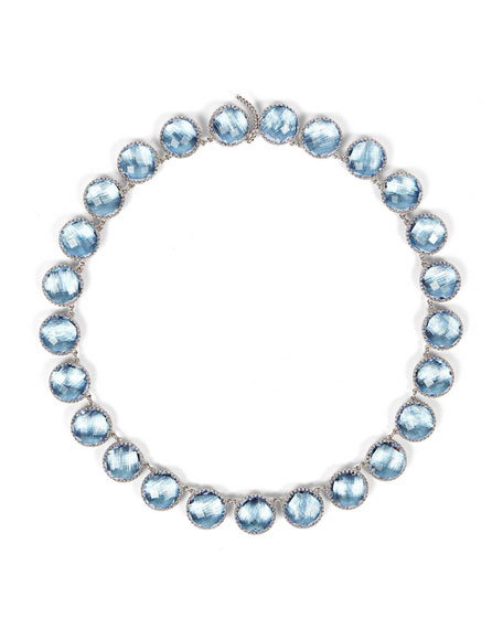 Olivia White Rhodium-Washed Button Rivière Necklace, Blue Chambray