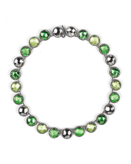 Olivia Black Rhodium-Washed Button Rivière Necklace, Green/Multi