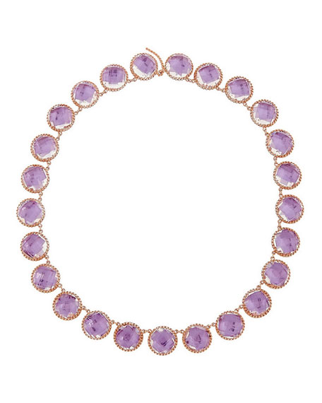 Larkspur & Hawk Olivia 18K Rose Gold-Washed Button Rivière Necklace, ...