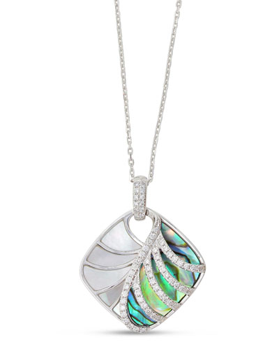 Venus 18K White Gold & Abalone Pendant Necklace with Diamonds