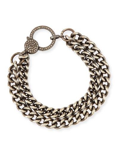 Oxidized Silver Curb Chain Bracelet with Diamond Clasp