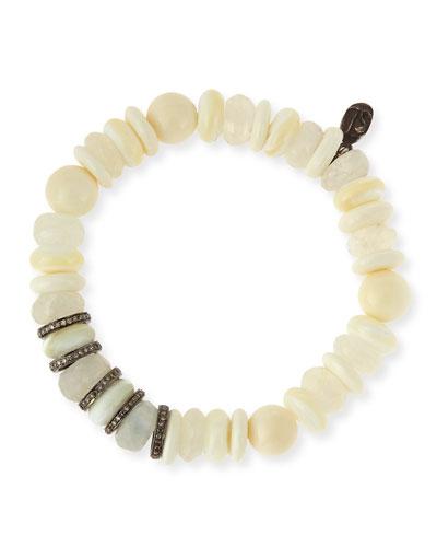 6mm Mixed Bead Bracelet with Diamond Rondelles, White
