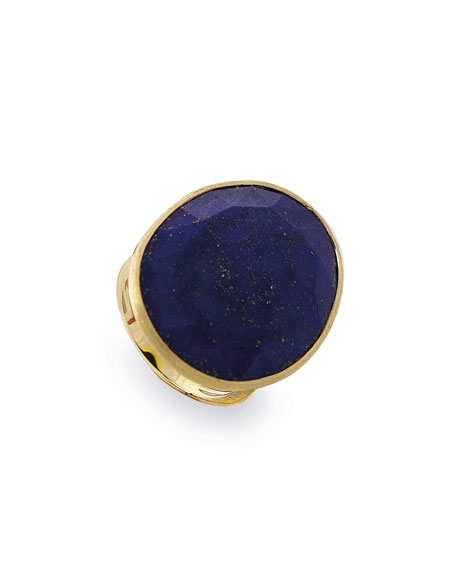 Lunaria Faceted Lapis Cocktail Ring, Size 7