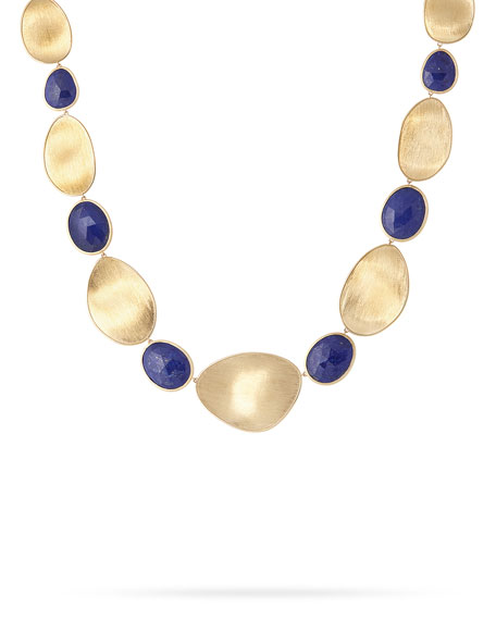 Lunaria Lapis Alternating Station Necklace, 18""