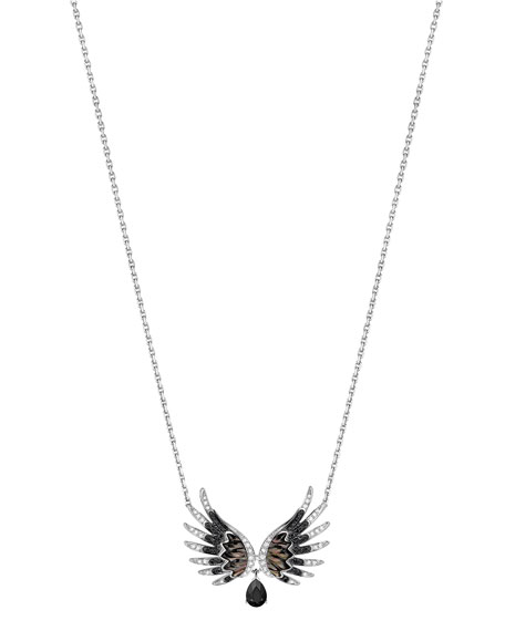 Vesta Black Spinel Pendant Necklace with Black & White Diamonds