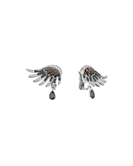 Vesta Black Spinel Earrings with Black & White Diamonds
