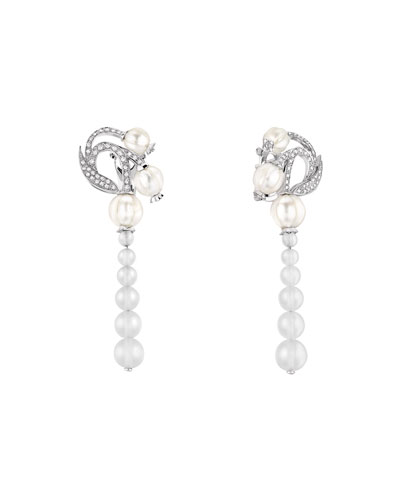 Muguet Pearl & Diamond Drop Earrings