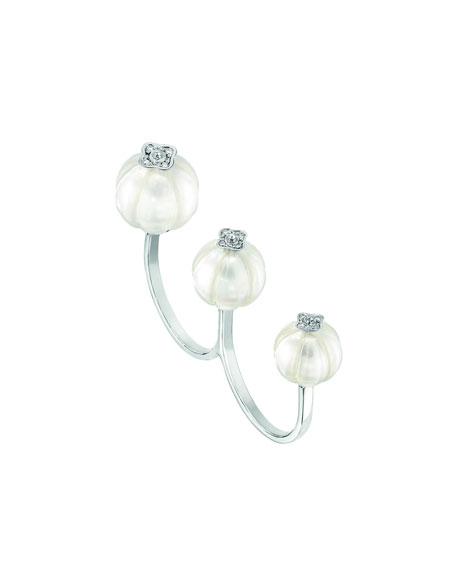 Muguet Pearl & Diamond Two-Finger Ring, Size 6