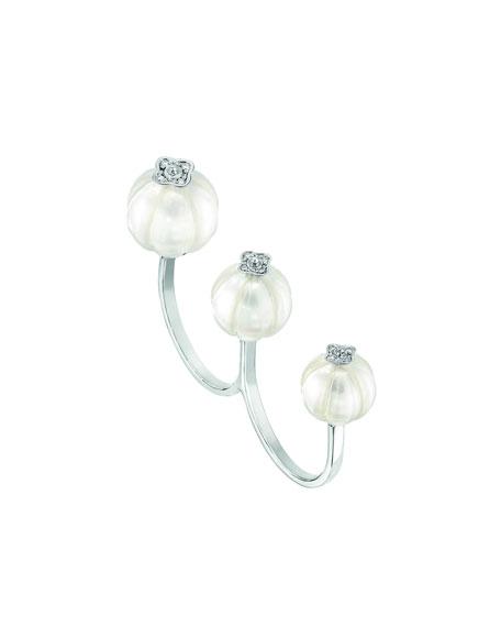 Muguet Pearl & Diamond Two-Finger Ring, Size 6