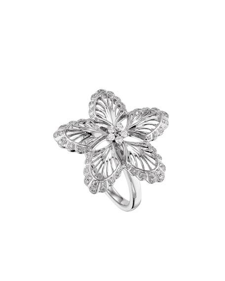 18K White Gold Lys Diamond Ring, Size 8