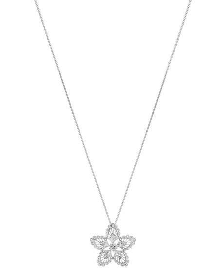 18K White Gold Lys Diamond Pendant Necklace