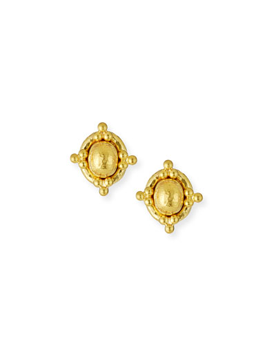 ELIZABETH LOCKE 19K BEADED DOME STUD EARRINGS