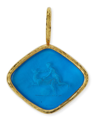 Rombo God & Deer Venetian Glass Intaglio Pendant
