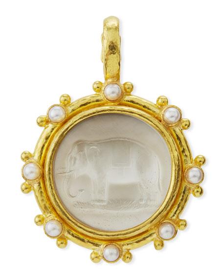 19K Elephant Venetian Glass Intaglio Pendant