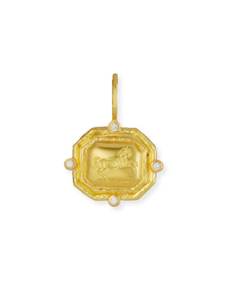 Elizabeth Locke Octagonal Horse Pendant with Diamonds