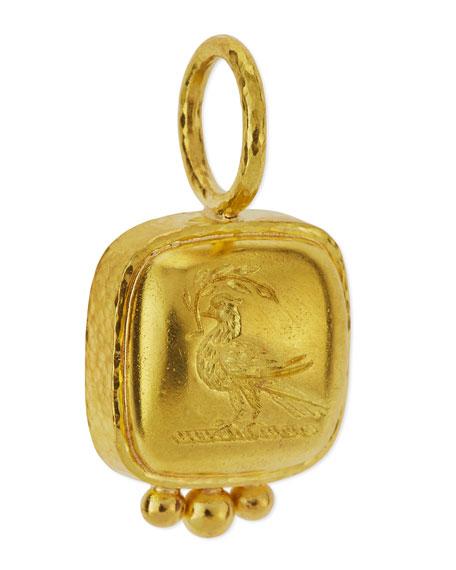 19K Gold Dove on Branch Venetian Glass Intaglio Pendant