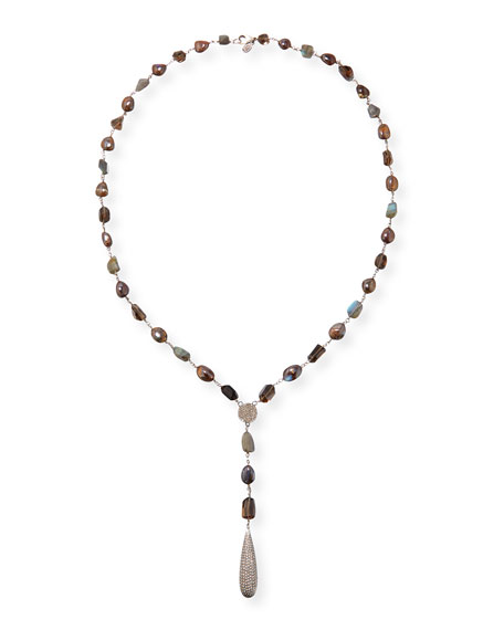 Sheryl Lowe Long Lariat Necklace with Opal, Quartz
