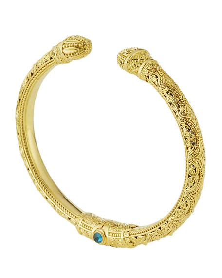 18K Flamenco Bracelet with London Blue Topaz Cabochons