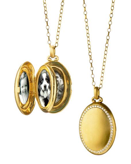18K Gold Premier Satin-Finish Locket Necklace with Diamonds