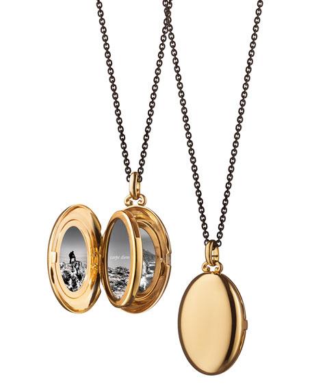 Moyen 18k Gold Oval Locket Necklace