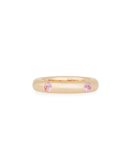 18K Rose Gold Ring with Pink Sapphires, Size 5.5