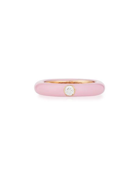 Pink Enamel Ring with One Diamond, Size 5.5