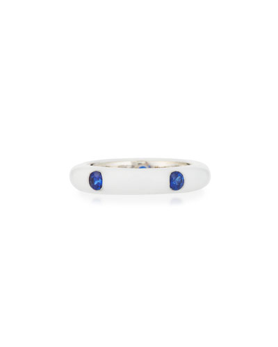 White Enamel Ring with Five Blue Sapphires, Size 6