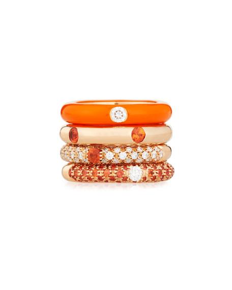 Orange Enamel Ring with One Diamond, Size 5.5