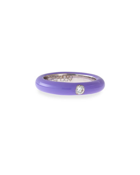 Lavender Enamel Ring with One Diamond, Size 6.75