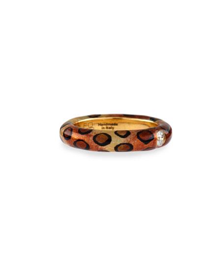 Cheetah-Print Enamel Ring with One Diamond, Size 6.75