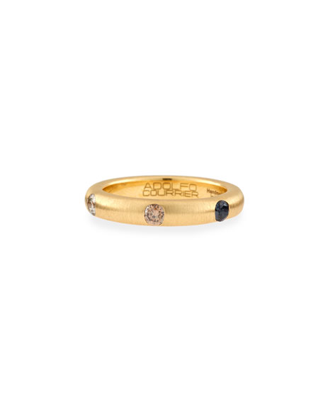 18K Yellow Gold Ring with Brown & Black Diamonds, Size 6.75