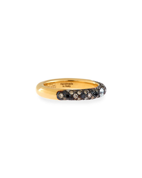 18K Yellow Gold Ring with Black & White Diamonds, Size 6.75