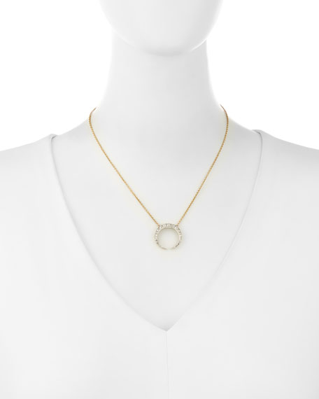 14K Gold Diamond Crescent Necklace