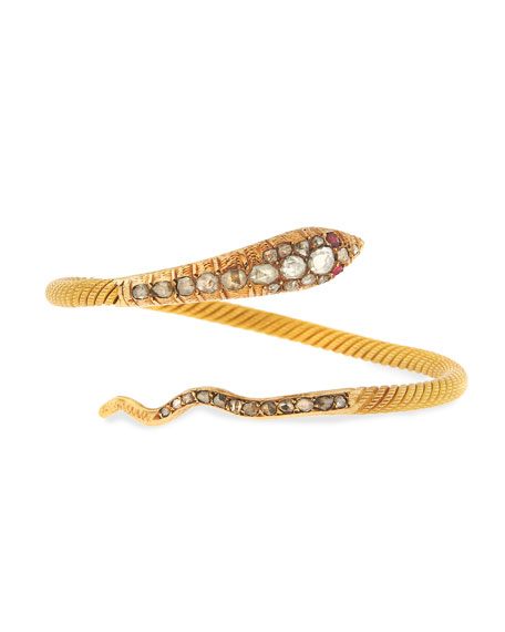 Serpent Wrap Bracelet with Diamonds & Rubies