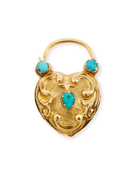 14K Turquoise Heart Padlock Charm