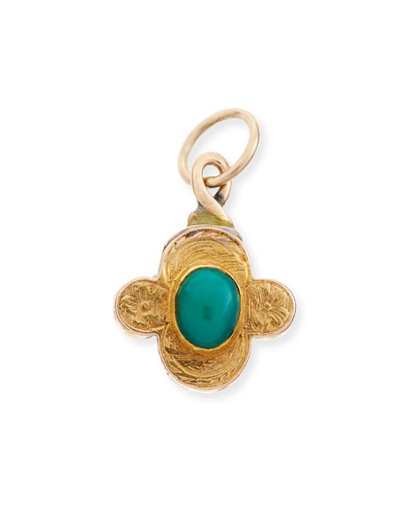 Reversible Turquoise/Garnet Quatrefoil Charm