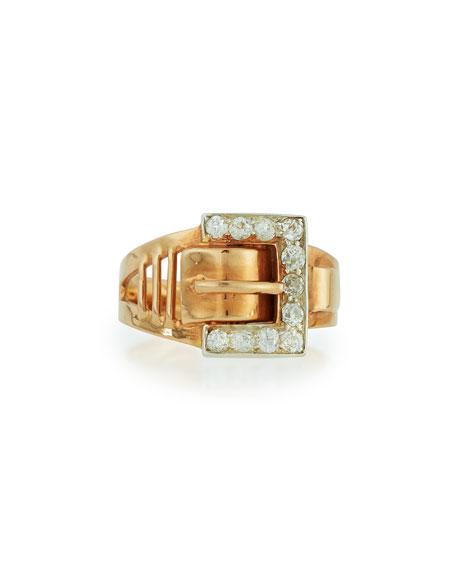 14K Rose Gold Diamond Buckle Ring