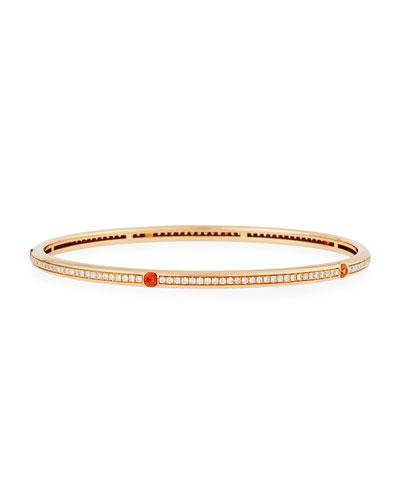 18K Rose Gold Pavé Diamond Bangle with Orange Sapphires