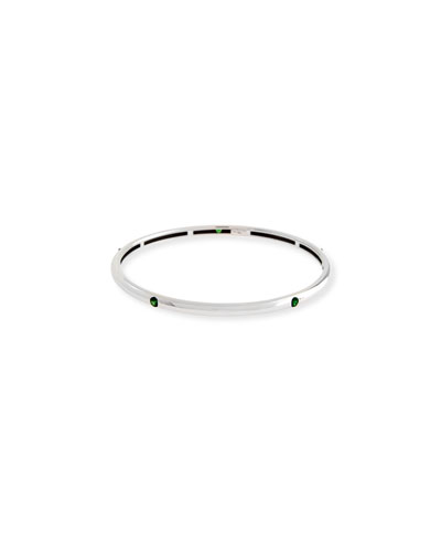 18K White Gold Bangle with Tsavorites