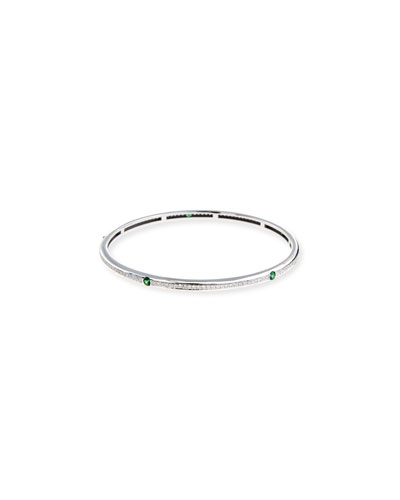 18K White Gold Pavé Diamond Bangle with Tsavorite